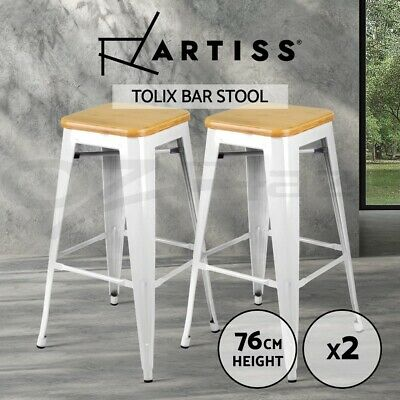 Artiss 2 x Tolix Replica Bar Stools Metal Bar Stool Chair Bamboo Seat 76cm WHITE