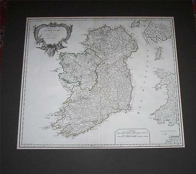 FINE 1760 MAP Of IRELAND By ROBERT DE VAUGONDY Large Size HAND COLOURED
