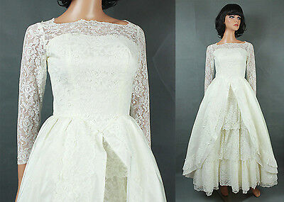 Vintage 60s Wedding Gown XXS Long Full Off White Tiered Lace Tulle Taffeta Dress