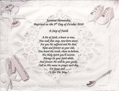 Personalized Poem for Baby Child Baptism Christening Announcement Gift Godparent