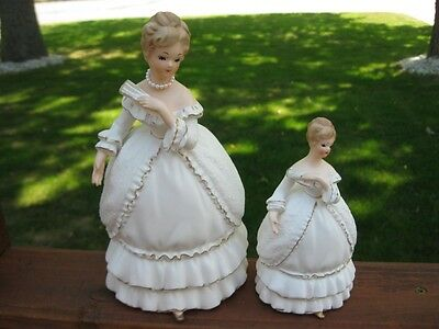 Vintage NAPCOWARE Southern Belle Victorian Lady Figurines ~  Mother & Daughter