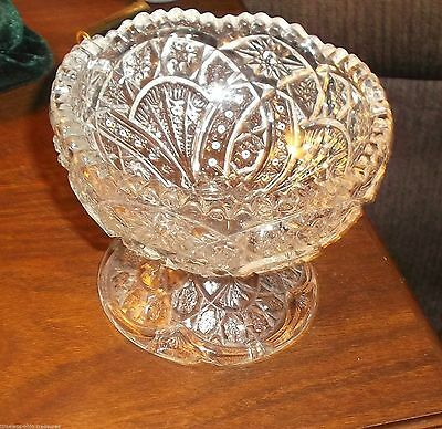 """crystal footed candy bowl compote sawtooth edge 3 1/2"""" tall vintage cut glass"""