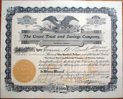 1911 Bank Stock Certificate: 'Grant Trust & Savings Co. - Marion, Indiana IN'