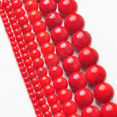 "Natural Round Red Coral Gemstone Loose Spacer Beads 16"" Strand 2 3 5 6 8 9 mm"