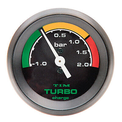 LMA Turbo Boost Gauge Black Face Black Bezel 52mm Diam Race Rally -1 To +2 Bar