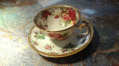 Vintage Rose Pattern Cup and Saucer (Napco)
