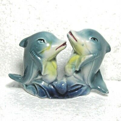 "Dolphins china figure figurine 5"" x 3.5"" ᴵ"