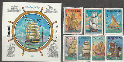 Stamps 1994 Tanzania sailing ships set of 7 plus mini sheet MUH, nice thematics