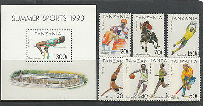 Stamps 1993 Tanzania various sports set of 7 plus mini sheet MUH, nice thematics