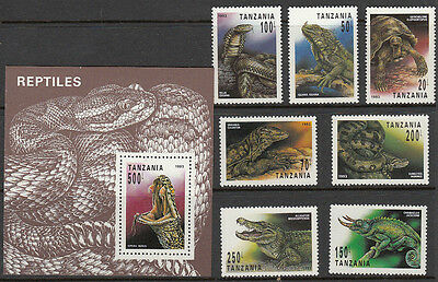 Stamps 1993 Tanzania reptiles set of 7 plus mini sheet MUH, nice thematics
