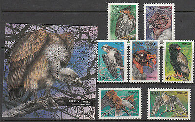 Stamps 1994 Tanzania Birds of Prey set of 7 plus mini sheet MUH, nice thematics