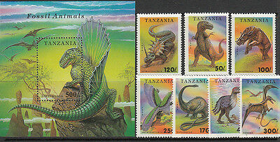 Stamps 1994 Tanzania Dinosaurs set of 7 plus mini sheet MUH, nice thematics