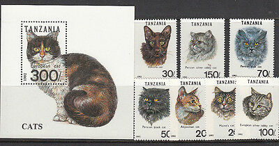Stamps 1992 Tanzania cat breeds set of 7 plus mini sheet MUH, nice thematics