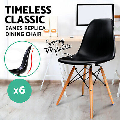 6 x Retro Replica Eames Eiffel Dining Chairs Cafe Kitchen Beech Wood BLACK