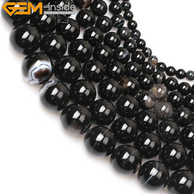 """Natural Stone Genuine Striped Black Agate Gemstone Beads For Jewelry Making 15"""""""