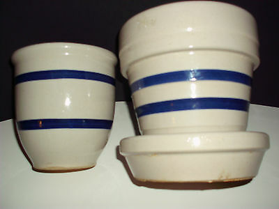 (2) VINTAGE ROSEVILLE DOUBLE BLUE BANDED STONEWARE RRP CO. POTTERY
