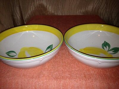 HEREND VILLAGE POTTERY SUMMER LEMON PATTERN 2 CEREAL BOWLS YELLOW LEMONS