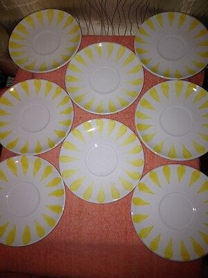 HEREND VILLAGE POTTERY SUMMER LEMON PATTERN 8 SAUCERS YELLOW LEMONS