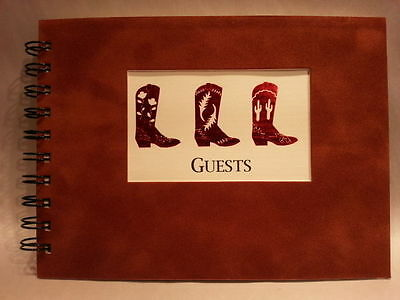 Rustic Lodge Ranch Sueded Cover CABIN GUEST BOOK with Cowboy Boots Pattern