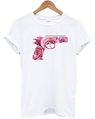 Rose Gun T Shirt Prevent Crime Charity Violence Hand Urban Top Men Women Tumblr