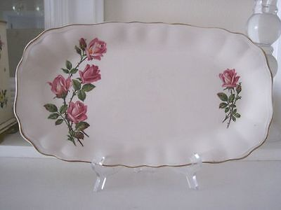 GORGEOUS VINTAGE J & G MEAKIN QUEEN'S ROSE OBLONG CAKE PLATE