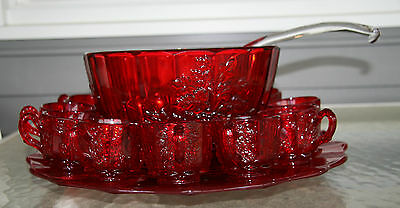 Vintage LG Wright Ruby Red Paneled Grape Punch Set - Simply Gorgeous ~ Rare!!