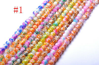 Lots 40pcs  8MM Mixed DIY Round Chic Glass Loose Spacer Charms Beads #1