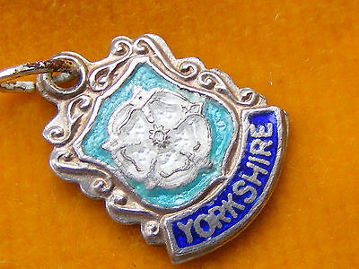 VINTAGE STERLING SILVER CHARMS TRAVEL SHIELD SOUTH NORTH WEST EAST YORKSHIRE