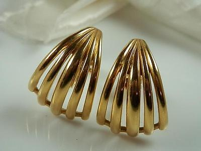 Signed Crown Trifari Vintage 1970s Modernist Gold Tone Earrings  884A4