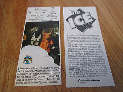 Game 28 JOHNNY MOST Last Season BOSTON CELTICS 3/3/95 TICKET Boston Garden