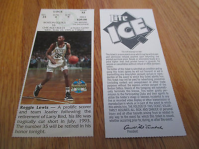 Game 32 REGGIE LEWIS Last Season BOSTON CELTICS 3/22/95 TICKET Boston Garden