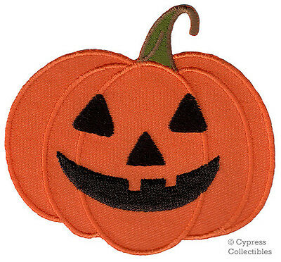 HALLOWEEN PUMPKIN JACK O LANTERN iron-on applique EMBROIDERED PATCH ORANGE new