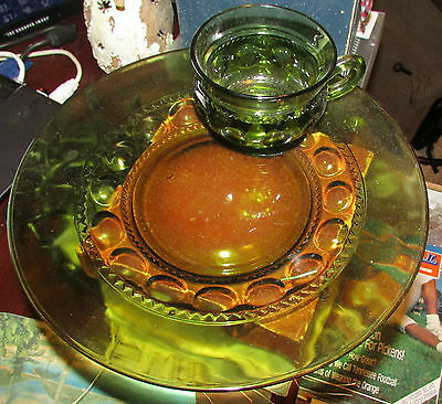 INDIANA GLASS 60-70'S Kings Crown Luncheon Snack Avocado Green Glass Set
