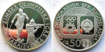 1983 Yugoslavia Large silver Olympic 500 D Biathlon PROOF
