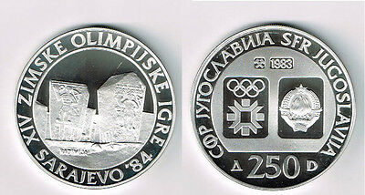 1983 Yugoslavia Large silver Olympic 250 D Radimlja Tombs PROOF