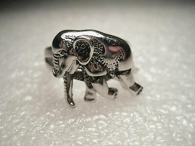 Vintage Silvertone Moving Elephant Ring, signed Edco, size 6, Must See