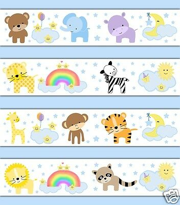 Jungle Zoo Animals Wallpaper Border Wall Decals Baby Woodland Nursery Art Decor