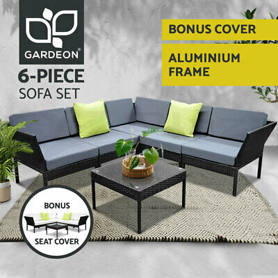 Outdoor Furniture Wicker 6pc PE Rattan Set Garden Lounge Stackable Setting BKGR