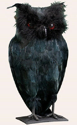 """4002 Gothic Large 11"""" Black Feather Standing Owl Table Figure Halloween Creepy"""