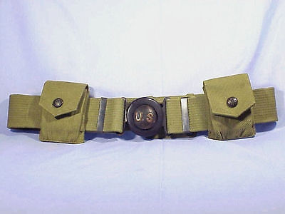 Early Model 1910 MILLS GARRISON BELT With RARE Rimless Eagle Buttons