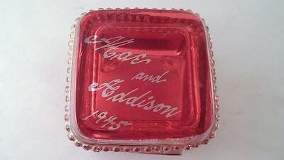 Vintage 1945 Ruby Flash Stained Square Jewelry Casket - Engraved Mae & Addison