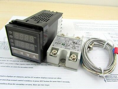 AC 110-240 Digital PID Temperature controller + 40A SSR + K thermocouple Sensor