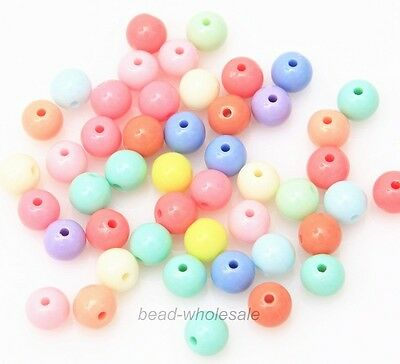 100 Pcs Mixed Color Acrylic Plastic Smooth Round Ball Loose Spacer Beads 8mm