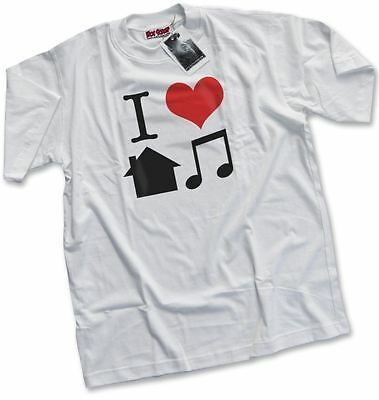 NEW I Love House Music D&B DJ Top Rave Ibiza Club Mens White T-Shirt