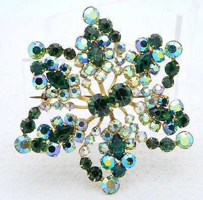 VTG AUSTRIA Signed Gold Tone Green AB Crystal Rhinestone Large Flower Pin Brooch
