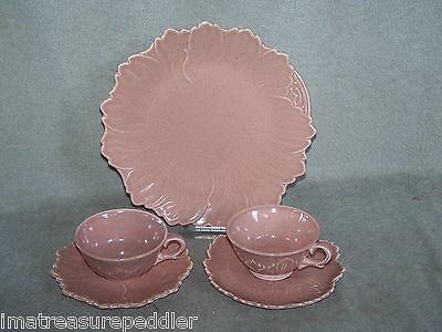 Steubenville Woodfield Salmon Coral Pink Dinner Plate & 2 Cup & Saucer Sets