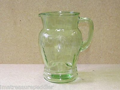 "Cameo Green Depression Glass Pitcher 8"" Hocking Ballerina Dancing Girl"