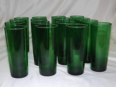 8 Vintage Anchor Hocking Forest Green Tall Boy Iced Tea Glasses