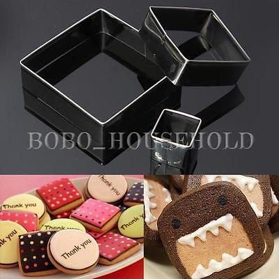 3Pcs Cake Stainless Fondant Square Cutter Cookies Pastry Baking Mold Sugarcraft