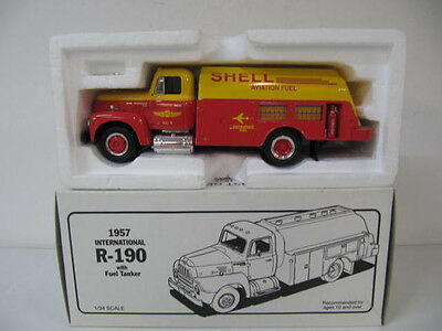 Shell Aviation Fuel 1957 International R-190 Tanker  Die Cast Bank  NIB  1/34